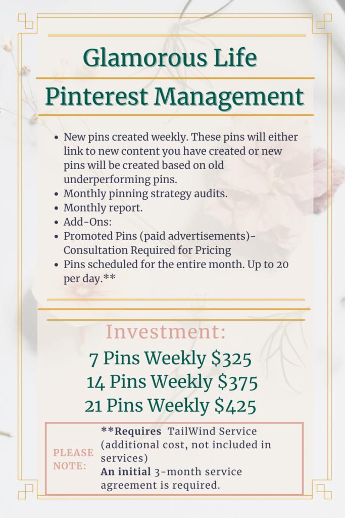 glamorous life pinterest management pricing menu