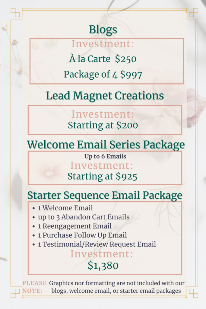 Content Writing Creations: Blogs, Lead Magnet Creations, Welcome Email Series Package, Starter Sequence Email Package